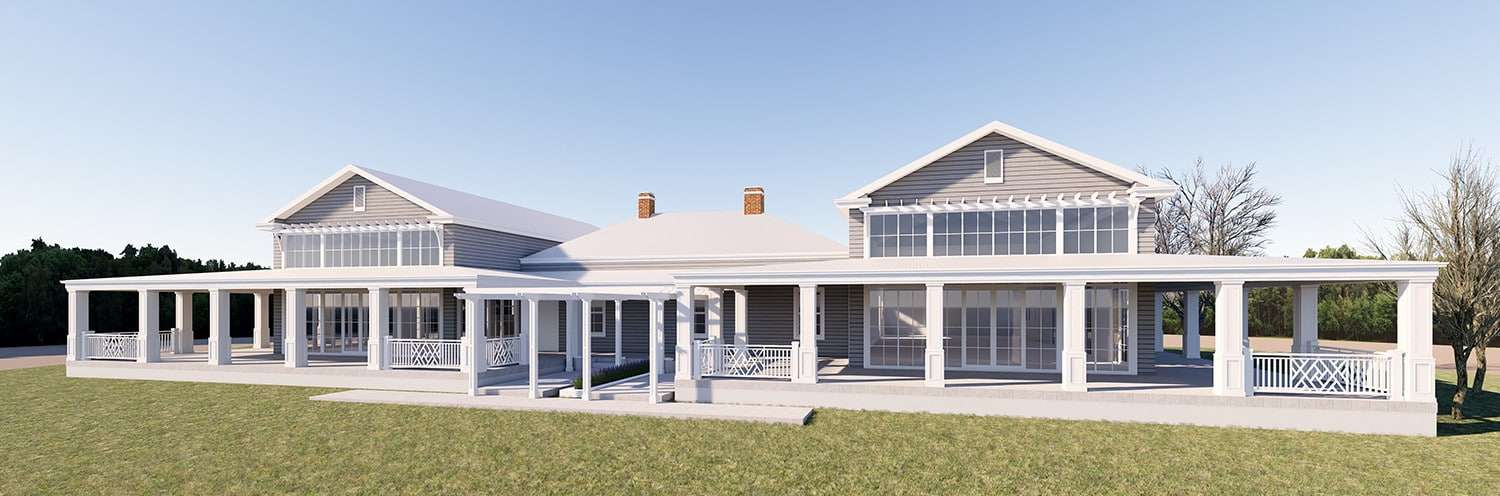 Renovation decisions - 3D rendered concept drawing of Indah Island's Toodyay Farm Hampton's Project pictured with semi-commercial window frames